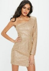Missguided gold one shoulder glitter hem bodycon dress – glam party dresses