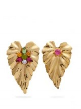 RODARTE Gold-plated mismatch leaf earrings ~ large statement jewellery