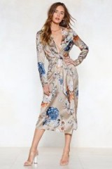 Got Your Dress in a Twist Floral Dress. NUDE PLUNGE FRONT DRESSES