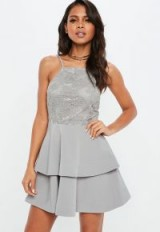 Missguided grey 90s neck lace frill skater dress ~ fit and flare party dresses