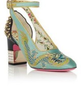 GUCCI Caspar Mary Jane Pumps – satin embroidered Mary Janes