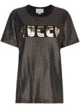 GUCCI Gold Metallic Logo T-Shirt / shiny tees