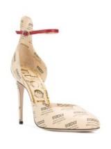GUCCI Gucci invite print pumps / logo and slogan printed high heel shoes