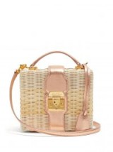 MARK CROSS Harley small metallic-pink leather and wicker basket bag