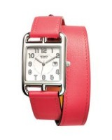 Hermès Cape Cod GM Stainless Steel Watch with Azalea Pink Leather Strap / womens luxury watches