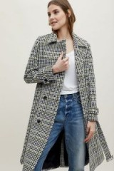 Miranda Dunn Houndstooth Double-Breasted Trench Coat / classic check print coat