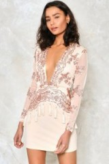 NASTY GAL How Low Can You Go Sequin Dress. NUDE PARTY DRESSES