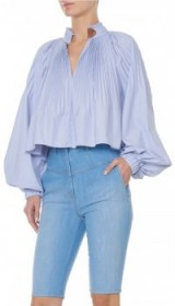 TIBI ISABELLE SHIRTING CROPPED EDWARDIAN TOP | pleated high neck tops