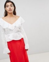 Ivyrevel Blouse in Anglais Lace with Deep V Back and Frills ~ ruffled blouses