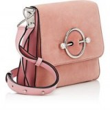 J.W.ANDERSON Disc Pink Suede & Leather Shoulder Bag – luxe flap bags