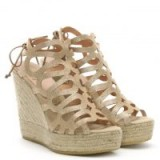 KANNA Berti Gold Metallic Leather Caged Wedge Espadrilles – high cut-out wedges