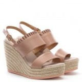 KANNA Cira Pink Leather Two Bar Wedge Espadrilles – frill trimmed slingback wedges