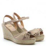 KANNA Viena Taupe Leather Ruffle Trim Wedge Espadrilles – front ruffled wedges