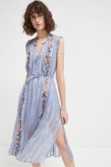 French Connection KATALINA STRIPE MIDI DRESS in SMOULDER / blue sleeveless floral dresses