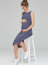 ISABELLA OLIVER KATERINA MATERNITY DRESS ~ navy and white stripe tank dresses ~ summer pregnancy fashion