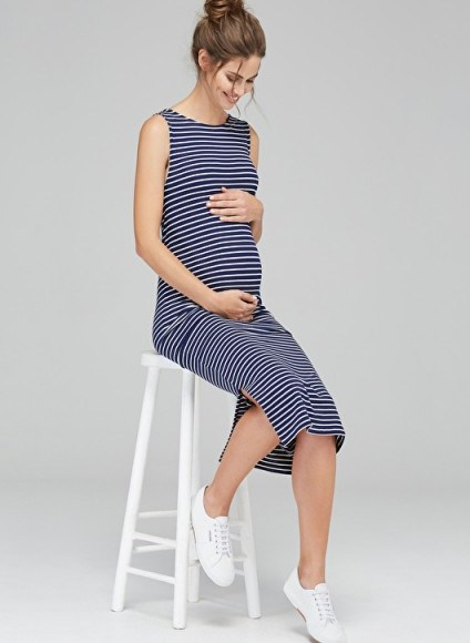 ISABELLA OLIVER KATERINA MATERNITY DRESS ~ navy and white stripe tank dresses ~ summer pregnancy fashion - flipped