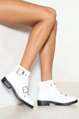 Nasty Gal Keep a Weather Eyelet Open Vegan Leather Boot – white buckle ankle boots