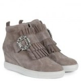 KENNEL & SCHMENGER Noreen Taupe Suede Jewelled Wedge High Top Trainers – ruffle front wedged heel sneakers