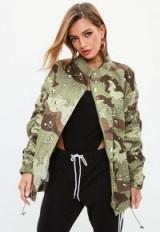 Missguided khaki camo ruched sleeve parka jacket ~ green camouflage jackets