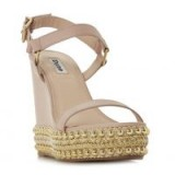 DUNE Kibble Blush Studded High Wedge Two Part Sandal | embellished wedged sandals