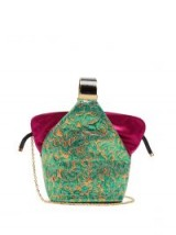 BIENEN-DAVIS Kit floral-brocade clutch   pink and green metallic handbags