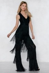 NASY GAL Lace Fringed Jumpsuit. BLACK TIERED FRINGE JUMPSUITS