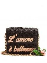 DOLCE & GABBANA L'amore Rose black raffia and leather cross-body bag ~ beautiful Italian slogan shoulder bags