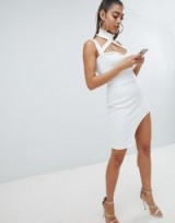 Lasula Cutout Bandage Bodycon Dress – glamorous white going out dresses
