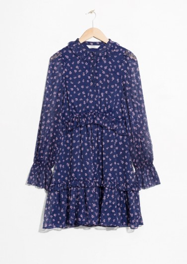 and other stories Layered Ruffle Dress / ditsy flower prints