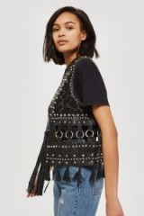 TOPSHOP Leather Embellished Gilet – sleeveless jackets – black tasseled boho gilets – festival style