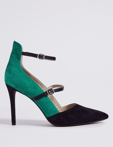 M&S COLLECTION Leather Stiletto Heel Strap Court Shoes – strappy colour block courts