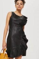 YAS Leather Wrap Dress | black side ruffle dresses