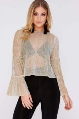 In The Style LENEA GOLD LUREX FRILL SLEEVE TOP | sheer tops