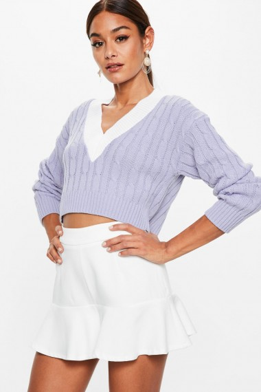Missguided lilac cropped knitted cricket jumper ~ V-neck crop hem jumpers