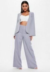 Missguided lilac wide leg trousers – luxe suit pants