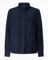 Jigsaw LINEN TENCEL MILITARY JACKET / navy blue lightweight jackets