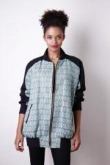Liquorish Mint Geometric Bomber Jacket ~ green lurex geo print jackets