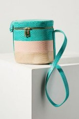 ANTHROPOLOGIE Louisa Striped Bucket Bag in turquoise | Croc embossed colour block bags