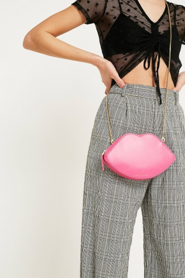 Lulu Guinness Lips Pink Leather Crossbody Bag / lip shaped bags