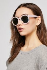FREE PEOPLE Luxe Abbey Road Sunnies in Powder Pink. NUDE RETRO SUNGLASSES