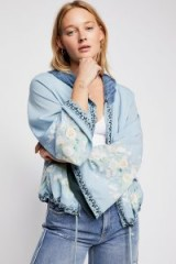 Free People Maple Kimono Bomber | blue floral jackets