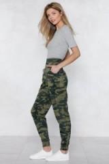 NASTY GAL March On Camo Joggers | khaki camouflage print pants