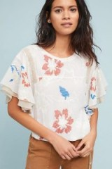 Tiny Margarite Drawstring Top | floral flutter sleeve tops