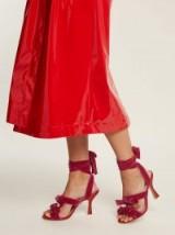 ATTICO Marla wraparound velvet sandals / pink strappy heels