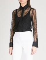 MAX MARA Cometa black floral lace shirt – semi sheer shirts