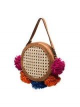MEHRY MU Multicoloured Tambourine Pom Pom Cross Body Bag / round shoulder bags / pom poms