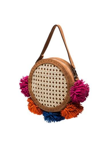 MEHRY MU Multicoloured Tambourine Pom Pom Cross Body Bag / round shoulder bags / pom poms