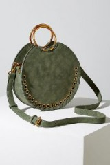 ANTHROPOLOGIE Melanie Whipstiched Round Bag | green O-ring top handle bags