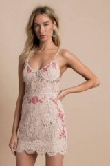 TOBI MIA NUDE EMBROIDERED LACE BODYCON DRESS ~ strappy party dresses