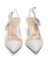 GIANVITO ROSSI Mia 55 point-toe white leather and plexi slingback pumps ~ clear panel slingbacks
